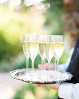 wedding champagne on serving platter