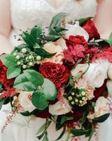 elizabeth seth wedding brides red and green bouquet