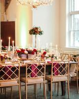 elizabeth seth wedding gold and red reception tables