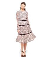 lela rose floral lace long sleeve dress