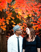 fall leaves engagement photo