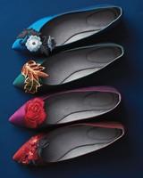 Ballet Flats with Floral Appliques