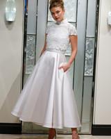 gracy accad short sleeve tea length wedding dress spring 2020