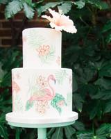 painted flamingo cake