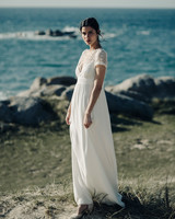 Laure de Sagazan a-line lace cap sleeve Wedding Dress Spring 2018