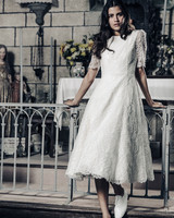 Laure de Sagazan tea length lace Wedding Dress Spring 2018