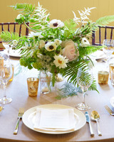 White and Green Arrangements with Gold Candle Vessels