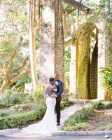 melissa leighton wedding couple by tall trees