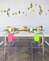neon wedding modern table scape