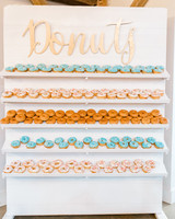 paige and kristine wedding donut wall