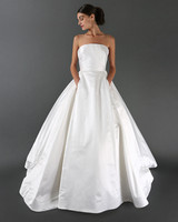 Shiny Strapless Wedding Dress with Pockets