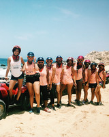 real brides bachelorette group cruising beach cabo