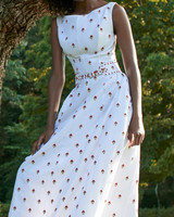 belted floral embroidered cotton dress