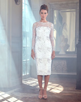 sareh nouri wedding dress spring 2019 knee length long sleeves illusion
