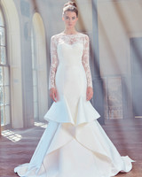 sareh nouri wedding dress spring 2019 ruffles a-line long sleeves illusion