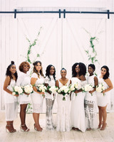 shakira travis wedding bridemaids in white