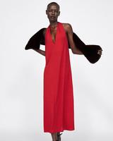 red Flowy sleeveless a-line halter dress