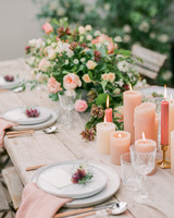 summer wedding centerpieces peach peonies and candles