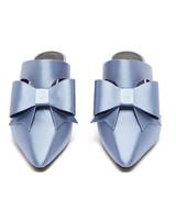 blue metallic bow-embellished satin mules