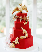 red and gold Chinese-Inspired wedding cake