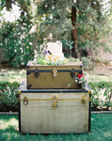 stacked vintage suitcases used as a cake stand