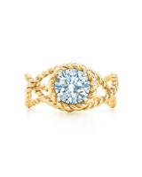 gold rope diamond center engagement ring