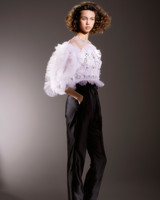 viktor and rolf beaded ruffled top and black pants wedding dress spring 2020