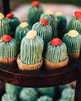 cupcakes with green cactus frosting