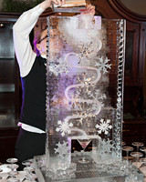 wedding ice sculpture frozen snowflakes drink dispenser