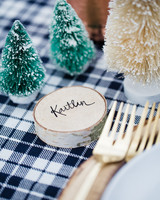 winter rehearsal dinner wooden place cards