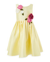 yellow flower girl dress roses