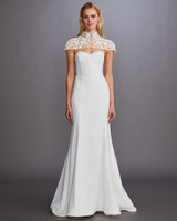 illusion lace high neck cap sleeve separate sweetheart strapless glitter trumpet wedding dress Allison Webb Spring 2020