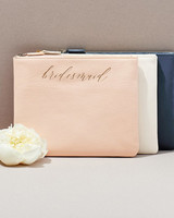 be my bridesmaid leather pouch with gold script