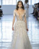 Berta Sheer Long Sleeves V-Neck Wedding Dress Fall 2018