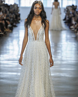 Berta Sheer Patterned V-Neck Wedding Dress Fall 2018