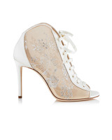 white and nude bridal booties jimmy choo freya
