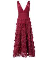 v-neck floral gown