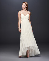 david bridal wedding dress spring 2019 spaghetti strap high-low hem v-neck