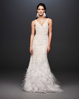 david bridal wedding dress spring 2019 v-neck feathers sleeveless
