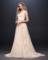 david bridal wedding dress spring 2019 a-line peach one shoulder belt