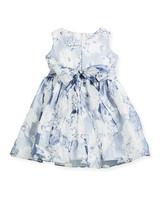 blue white flower girl dress