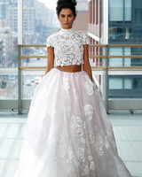 gracy accad wedding dress spring 2019 ball gown skirt pink two pieces short sleeves lace