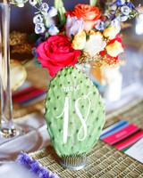 green wedding ideas monique hessler cactus table number
