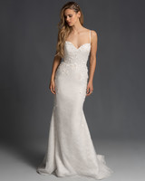 spaghetti strap sweetheart neckline semi trumpet wedding dress Hayley Paige Spring 2020