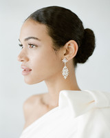 one shoulder dress with statement earring