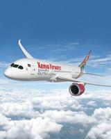 kenya airways airplane above clouds