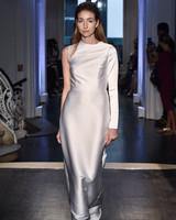 lakum wedding dress fall 2018 one long sleeve shiny satin