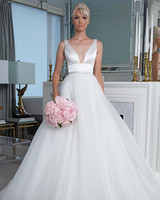 Legends Romona Keveža plunging v-neck with belt wedding dress fall 2019