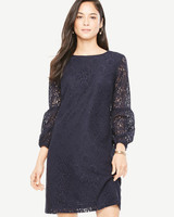 long-sleeve navy dress