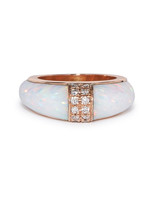 gold opal engagement ring with diamond accents